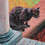 Cat's Pause 2 - Black Cat On The Front Porch Art Print