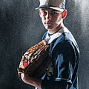 Caucasian Baseball Player Standing Art Print