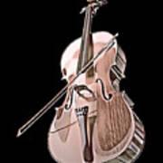 Cello String Music Instrument Musician Color Designed Art Print