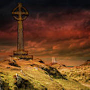Celtic Cross Llanddwyn Island Art Print