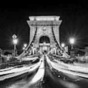 Chain Bridge At Night In Budapest Art Print