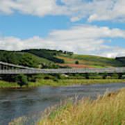 chainbridge over river Tweed at Melrose Art Print