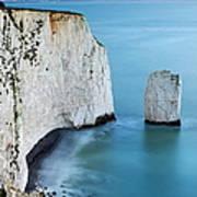 Chalk Cliffs And Sea Stack At South Art Print
