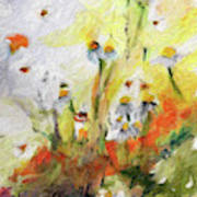 Chamomile Flowers Digital Impressionism Art Art Print