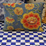 Checkerboard And Pillow Art Print