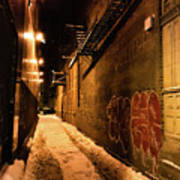 Chicago Alleyway At Night Art Print