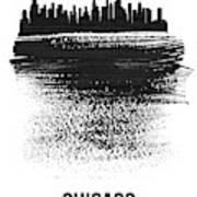 Chicago Skyline Brush Stroke Black Art Print