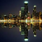 Chicago Skyline Reflected On Lake Art Print