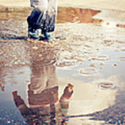 Child In A Puddle Art Print