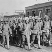 Chinese Soldiers Marching With Weapons Art Print