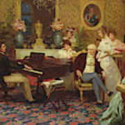 Chopin Playing The Piano In Prince Radziwills Salon Art Print