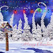 Christmas Card With Bird House Art Print