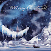 Christmas Card With Frozen Moon Art Print