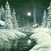 Christmas Night In The Country Art Print