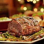 Christmas Roast Beef Dinner Art Print