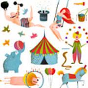 Circus Carnival Show Clip Art Vintage Art Print