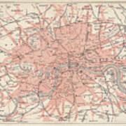 City Map Of London, Lithograph Art Print