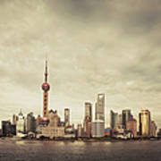 City Skyline At Sunset Shanghai China Photograph By D3sign