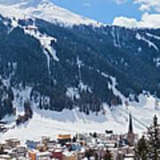 Cityscape Of Davos, Grisons, Switzerland Art Print