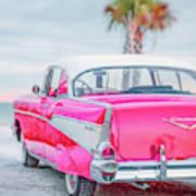Classic Vintage Pink Chevy Bel Air  8x10 Scene Art Print