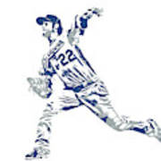 Clayton Kershaw Los Angeles Dodgers Pixel Art 30 Art Print