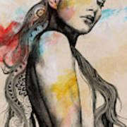 Cleansing Undertones - Zentangle Nude Girl Drawing Art Print
