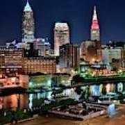 Cleveland Iconic Night Lights Art Print