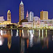 Cleveland Skyline at Dusk Rock Roll Hall Fame Art Print