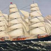 Clipper Ship Three Brothers, The Largest Sailing Ship In The World Published By Currier And Ives Art Print