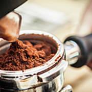 Close Up Of Espresso Grounds In Machine Art Print