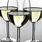 Close-up Of Three White Wine Glasses Art Print