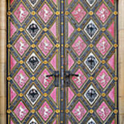 Closed Decorated Cathedral Door Art Print