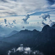 Moody Cloudy Mountains With A Lot Of Contrast And Shadows And Clouds Art Print