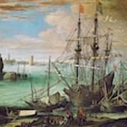 Coastal Landscape With Harbor  Art Print