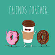 Coffee And Donuts Illustration. Vector Art Print