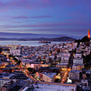 Coit Tower And North Beach At Dusk Art Print