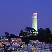 Coit Tower, Telegraph Hill At Dusk, San Art Print