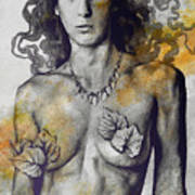 Colony Collapse Disorder - Gold - Nude Warrior Woman With Autumn Leaves Art Print