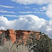 Colorado National Monument Colorado Blue Sky Red Rocks Clouds Trees Art Print