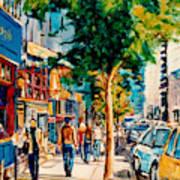 Colorful Cafe Painting Irish Pubs Bistros Bars Diners Delis Downtown C Spandau Montreal Eats         Art Print