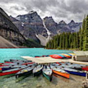 Colorful Canoes Of Moraine Lake Photograph By Pierre Leclerc Photography