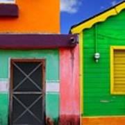 Colorful Caribbean Houses Tropical Art Print
