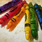 Colorwheel Crayons Art Print