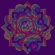 Colourful Rainbow Mandala Lavender Art Print