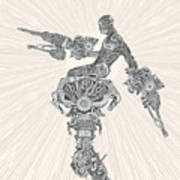 Comic-book Style Cyborg Hero Art Print