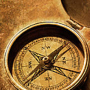 Compass On Old Texture Art Print