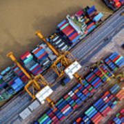 Container Ship In Import Export Art Print