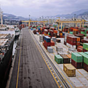 Container Shipping, Port Of Genoa, Italy Art Print