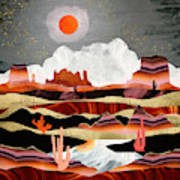 Coral Desert Lake Art Print