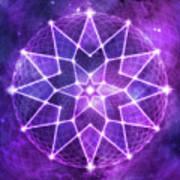 Cosmic Purple Geometric Seed Of Life Crystal Lotus Star Mandala Art Print